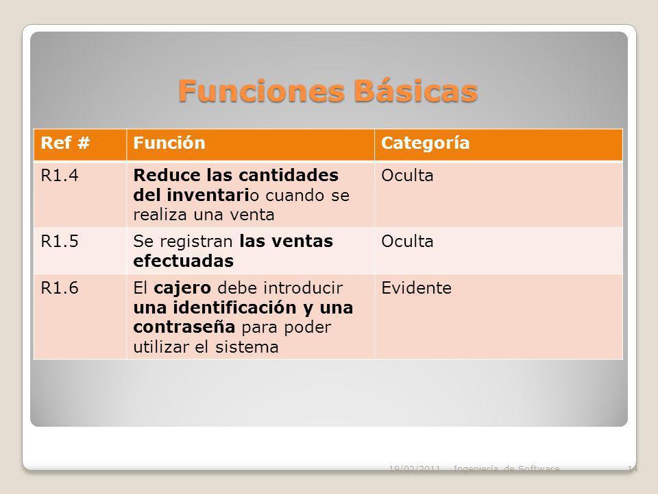 Funciones Básicas Ref #FunciónCategoría R1.4Reduce las cantidades del inventario cuando se realiza una venta Oculta R1.5Se registran las ventas efectuadas Oculta R1.6El cajero debe introducir una identificación y una contraseña para poder utilizar el sistema Evidente 19/02/2011Ingeniería de Software14