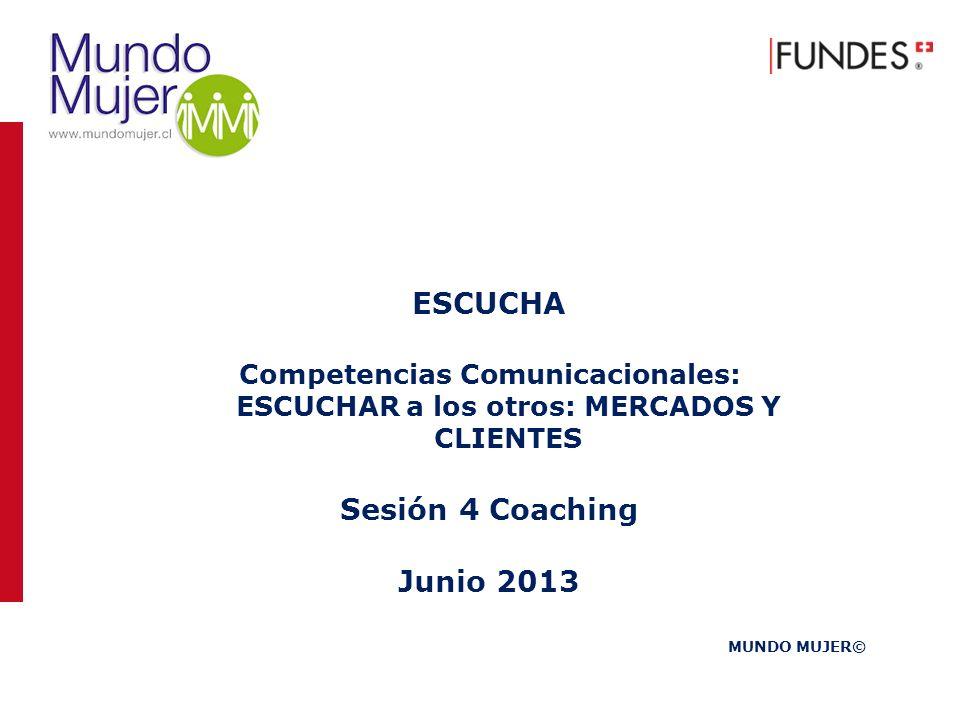 ESCUCHA Competencias Comunicacionales: ESCUCHAR a los otros: MERCADOS Y CLIENTES Sesión 4 Coaching Junio 2013 MUNDO MUJER©