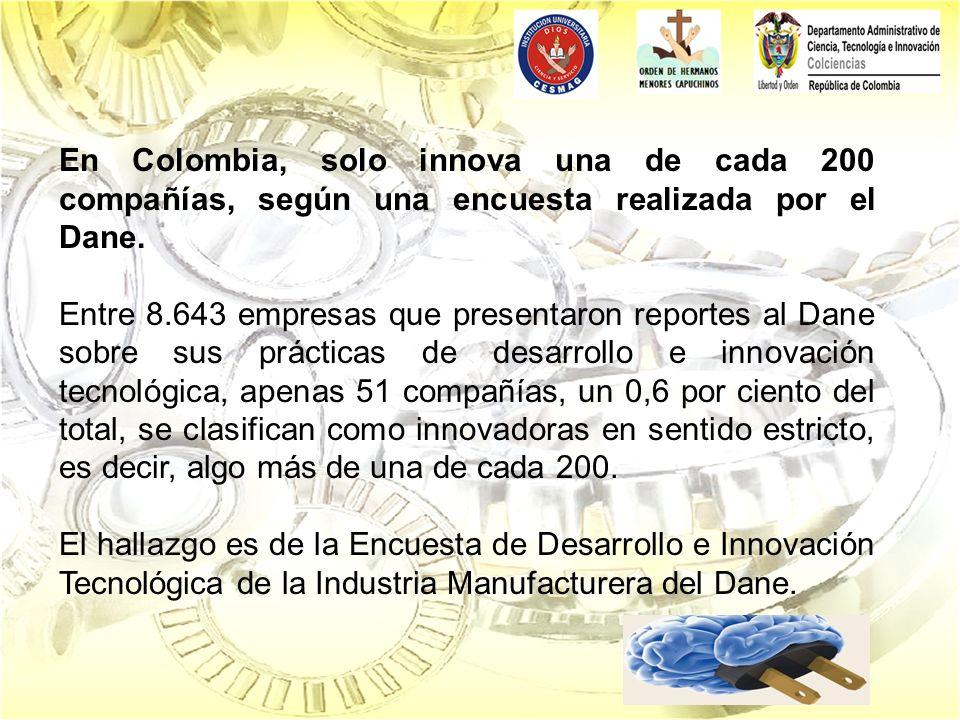 En Colombia, solo innova una de cada 200 compañías, según una encuesta realizada por el Dane. Entre 8.643 empresas que presentaron reportes al Dane so