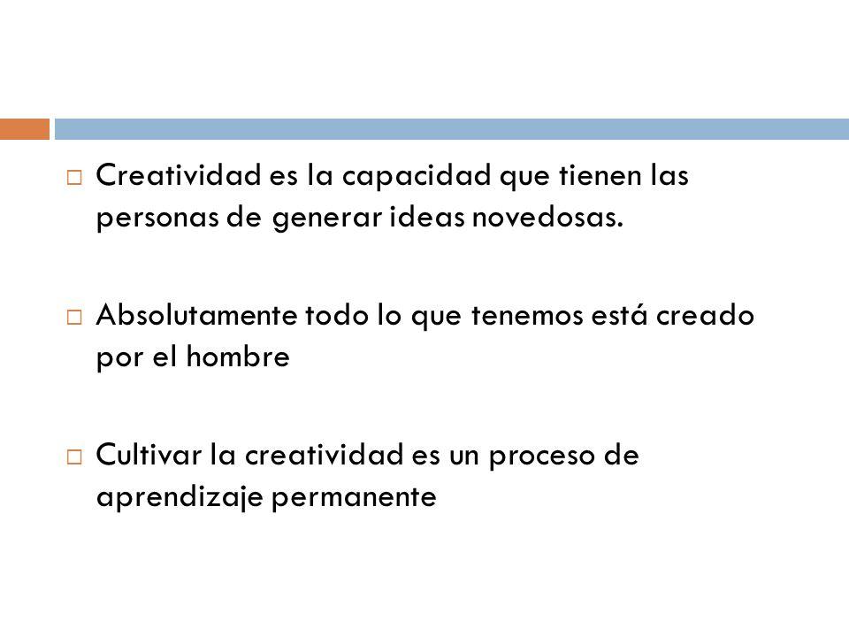 Creatividad es la capacidad que tienen las personas de generar ideas novedosas. Absolutamente todo lo que tenemos está creado por el hombre Cultivar l
