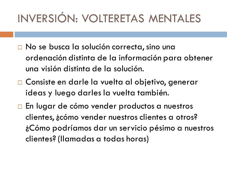INVERSIÓN: VOLTERETAS MENTALES No se busca la solución correcta, sino una ordenación distinta de la información para obtener una visión distinta de la