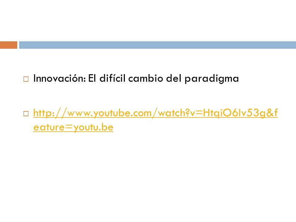 Innovación: El difícil cambio del paradigma http://www.youtube.com/watch?v=HtqiO6Iv53g&f eature=youtu.be http://www.youtube.com/watch?v=HtqiO6Iv53g&f