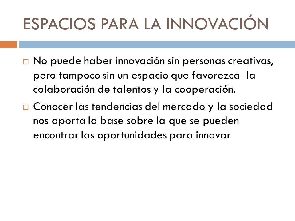 ESPACIOS PARA LA INNOVACIÓN No puede haber innovación sin personas creativas, pero tampoco sin un espacio que favorezca la colaboración de talentos y