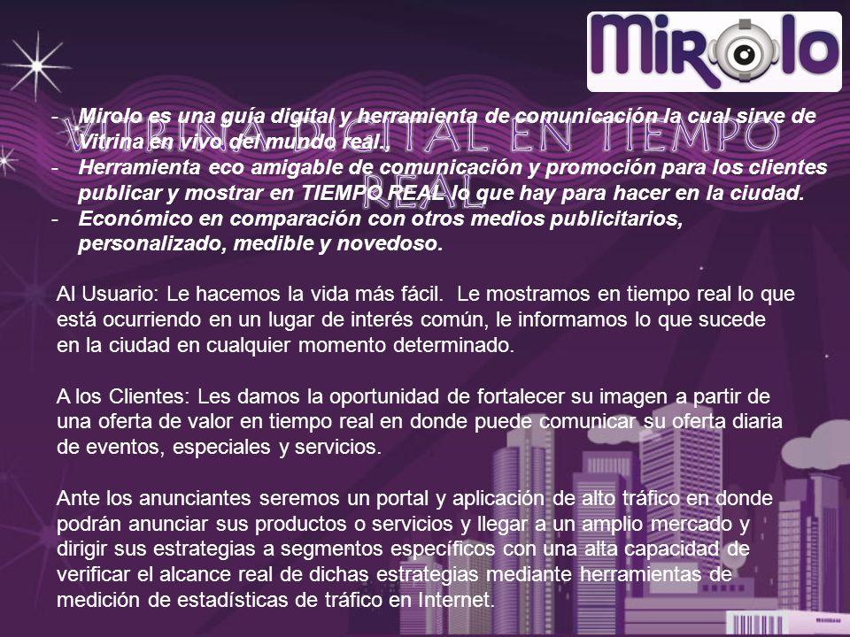 -Mirolo es una guía digital y herramienta de comunicación la cual sirve de Vitrina en vivo del mundo real., -Herramienta eco amigable de comunicación y promoción para los clientes publicar y mostrar en TIEMPO REAL lo que hay para hacer en la ciudad.