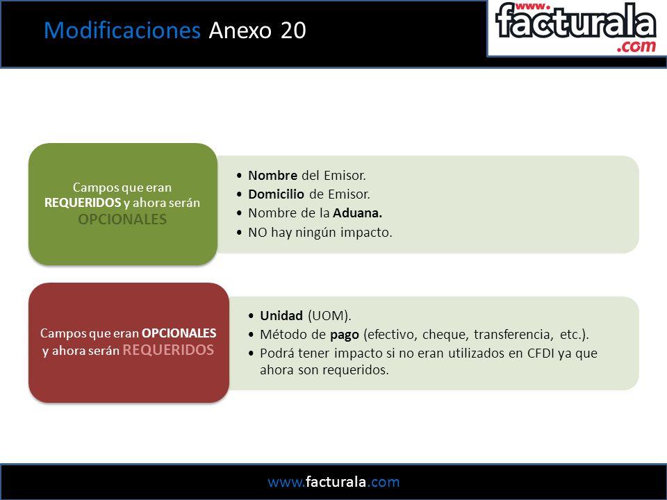 Modificaciones Anexo 20 Nombre del Emisor. Domicilio de Emisor.