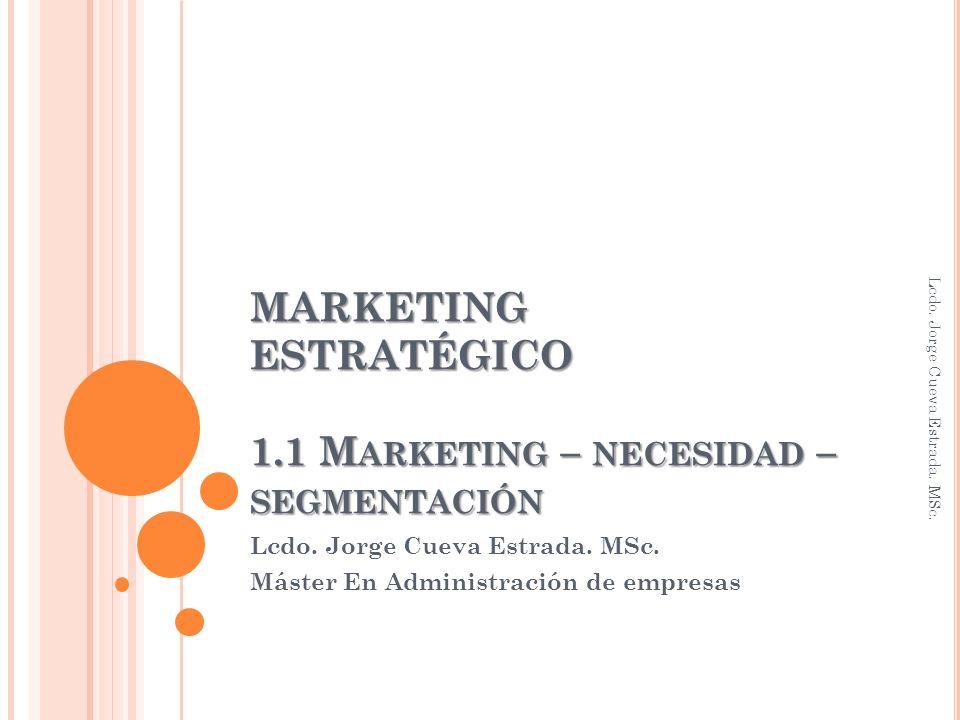 MARKETING ESTRATÉGICO 1.1 M ARKETING – NECESIDAD – SEGMENTACIÓN Lcdo.