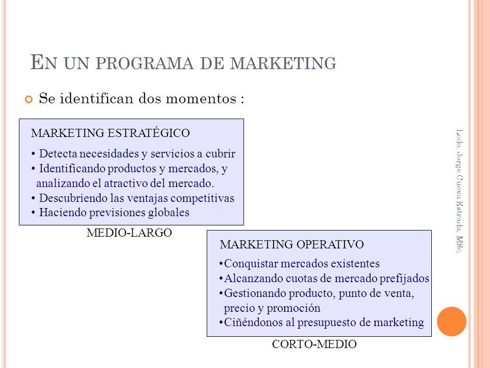 E LECCIÓN DEL MERCADO META Una vez que se conoce como esta formado el mercado, se elige el mercado meta o target al cual atenderá la organización.