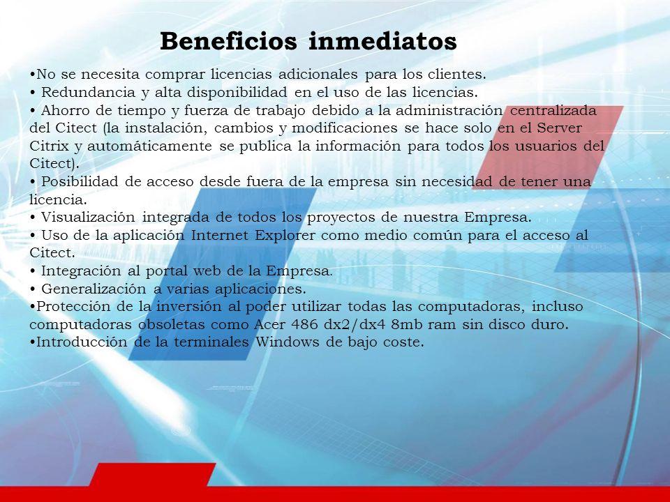 Beneficios inmediatos No se necesita comprar licencias adicionales para los clientes.