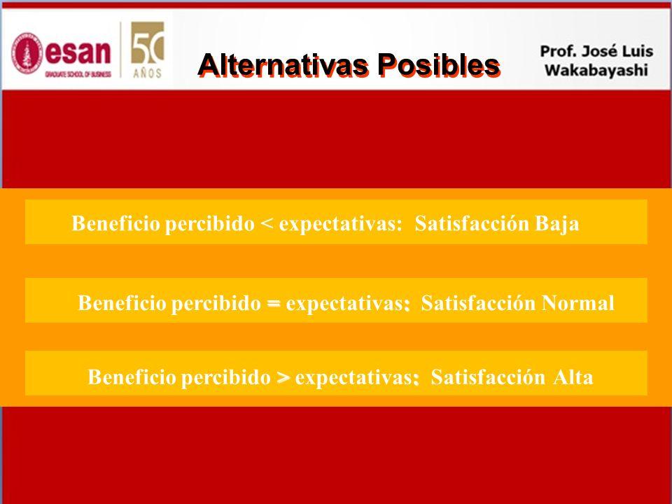 Alternativas Posibles Beneficio percibido < expectativas: Satisfacción Baja = : Beneficio percibido = expectativas: Satisfacción Normal > : Beneficio