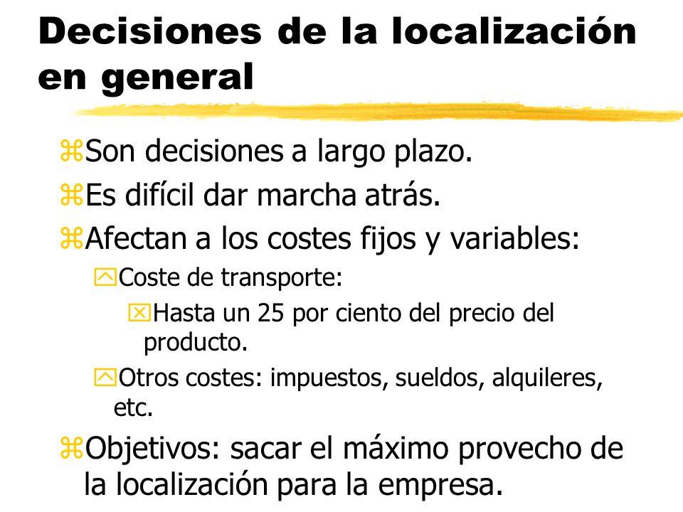 Decisiones de la localización en general zSon decisiones a largo plazo.