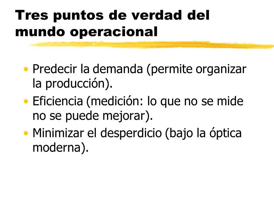 Tres puntos de verdad del mundo operacional Predecir la demanda (permite organizar la producción).
