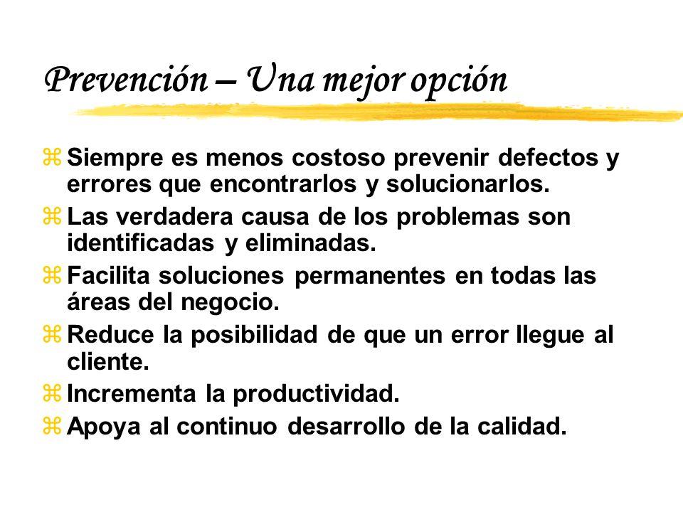Prevención – Una mejor opción zSiempre es menos costoso prevenir defectos y errores que encontrarlos y solucionarlos.