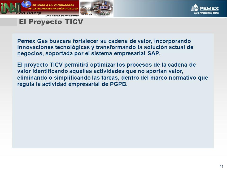 11 El Proyecto TICV Pemex Gas buscara fortalecer su cadena de valor, incorporando innovaciones tecnológicas y transformando la solución actual de negocios, soportada por el sistema empresarial SAP.