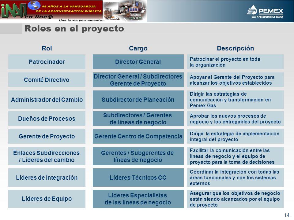 14 Roles en el proyecto Patrocinador Comité Directivo Gerente de Proyecto Líderes de Equipo Enlaces Subdirecciones / Líderes del cambio Cargo Director