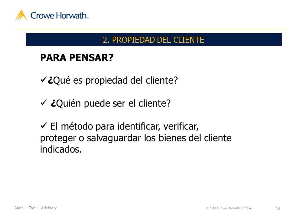 18 Audit | Tax | Advisory © 2011 Crowe Horwath CO S.A. 2. PROPIEDAD DEL CLIENTE PARA PENSAR? ¿Qué es propiedad del cliente? ¿Quién puede ser el client