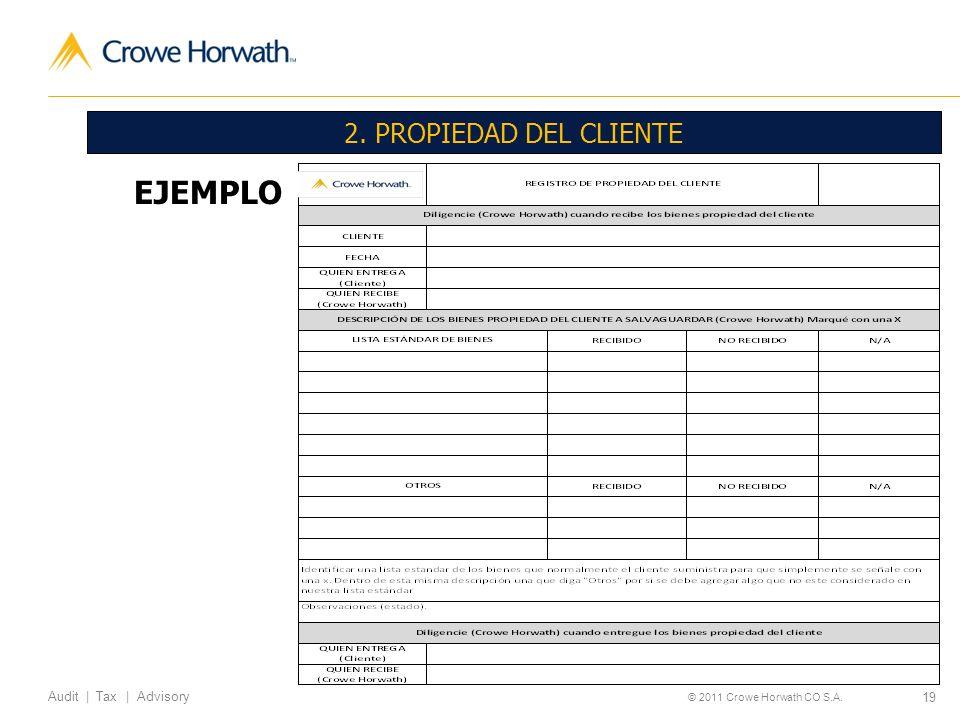 19 Audit | Tax | Advisory © 2011 Crowe Horwath CO S.A. 2. PROPIEDAD DEL CLIENTE EJEMPLO