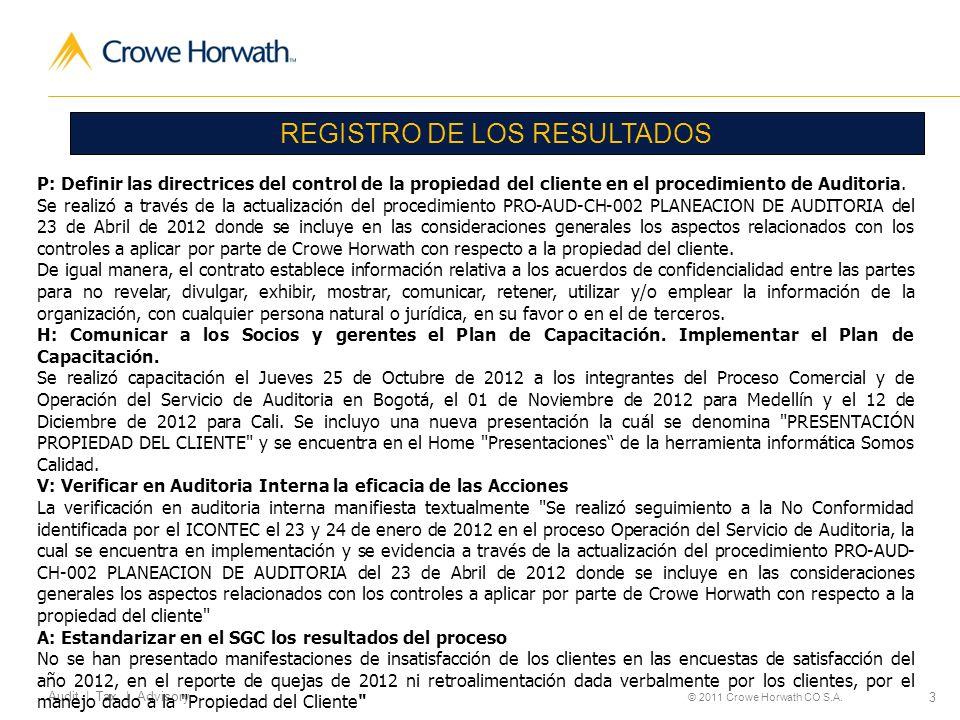 3 Audit | Tax | Advisory © 2011 Crowe Horwath CO S.A. REGISTRO DE LOS RESULTADOS P: Definir las directrices del control de la propiedad del cliente en