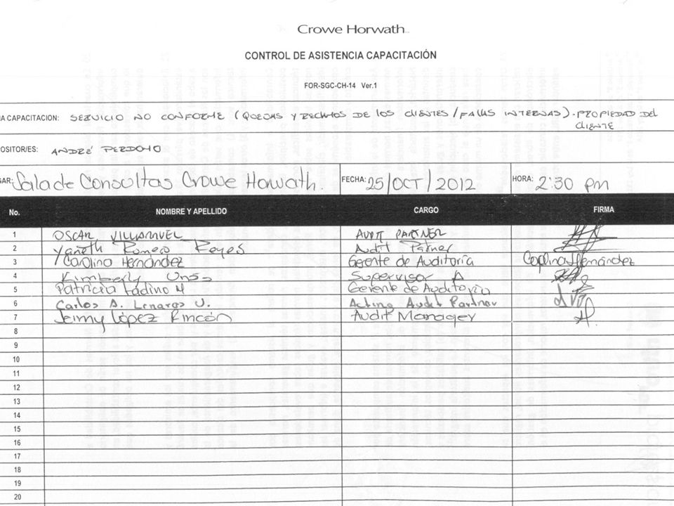 5 Audit | Tax | Advisory © 2011 Crowe Horwath CO S.A. NUMERAL 8.3 CONTROL DEL PRODUCTO NO CONFORME