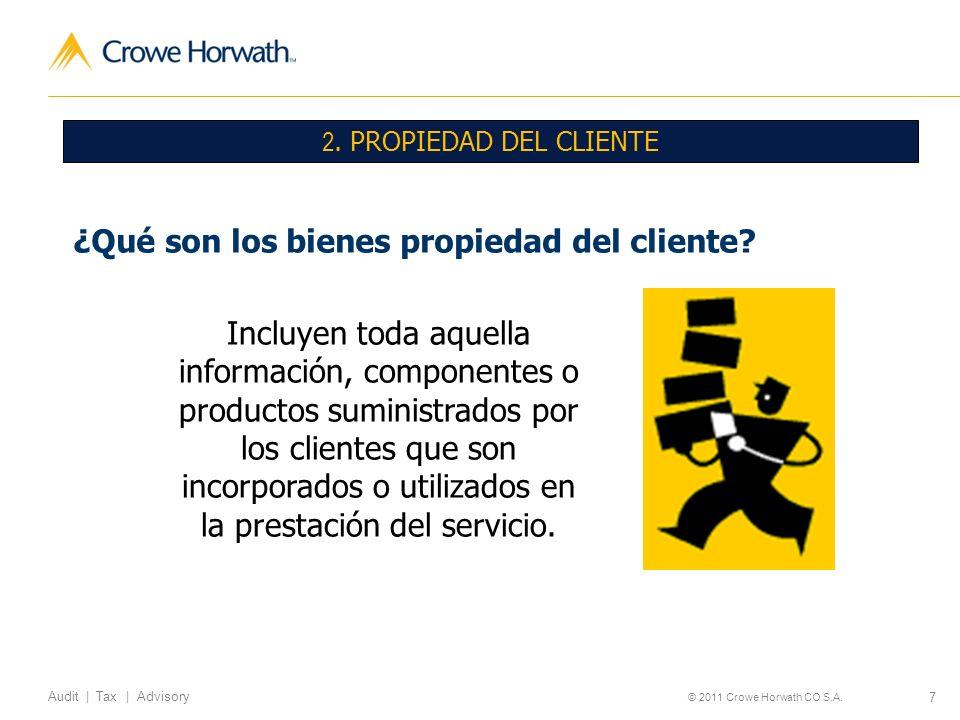 7 Audit | Tax | Advisory © 2011 Crowe Horwath CO S.A. 2. PROPIEDAD DEL CLIENTE ¿Qué son los bienes propiedad del cliente? Incluyen toda aquella inform