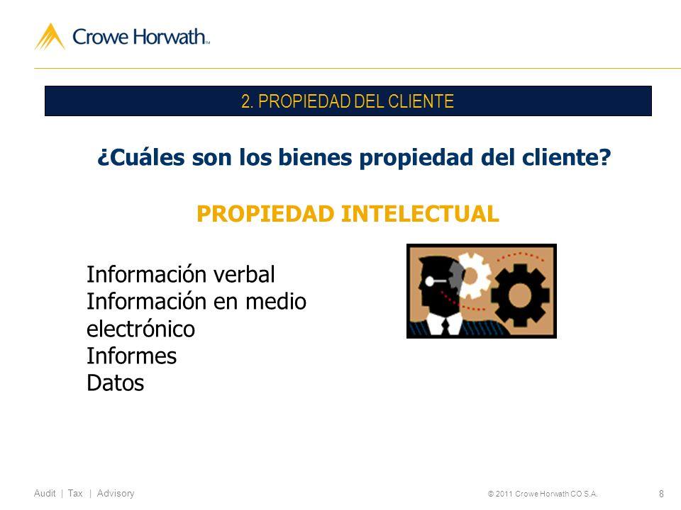 8 Audit | Tax | Advisory © 2011 Crowe Horwath CO S.A. 2. PROPIEDAD DEL CLIENTE ¿Cuáles son los bienes propiedad del cliente? PROPIEDAD INTELECTUAL Inf