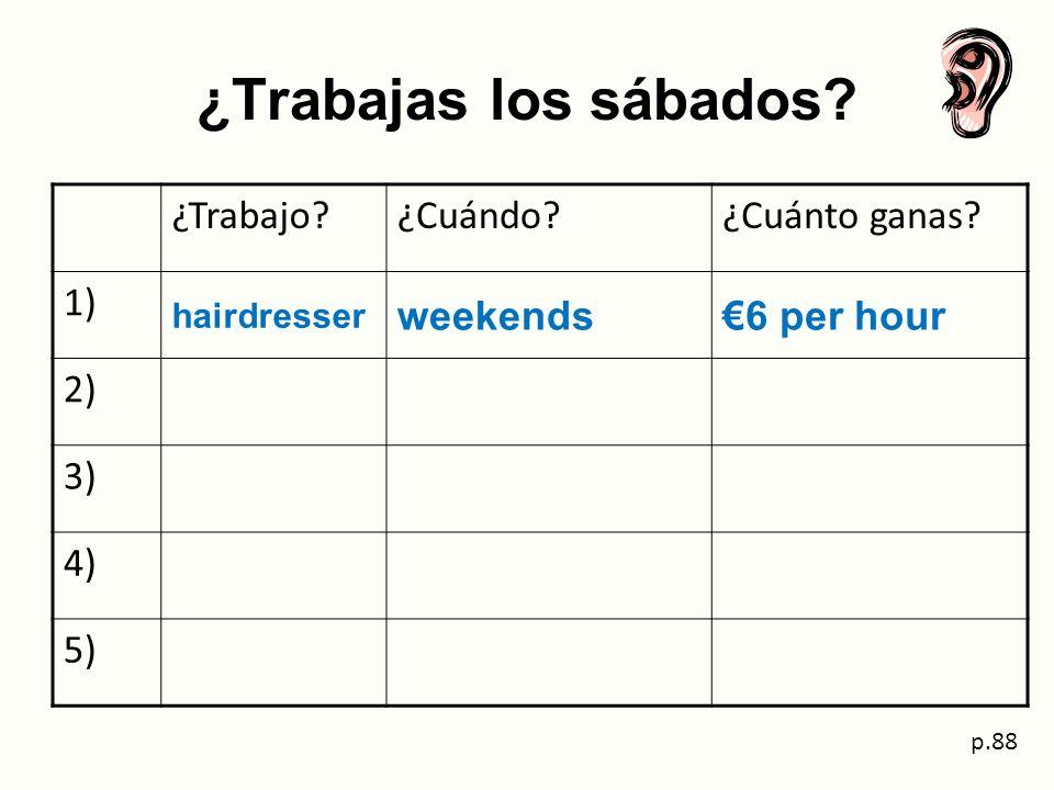 ¿Trabajas los sábados? ¿Trabajo?¿Cuándo?¿Cuánto ganas? 1) hairdresser weekends6 per hour 2) 3) 4) 5) p.88
