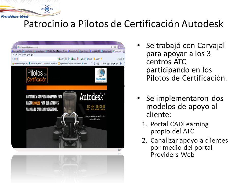 Patrocinio a Pilotos de Certificación Autodesk Se trabajó con Carvajal para apoyar a los 3 centros ATC participando en los Pilotos de Certificación. S