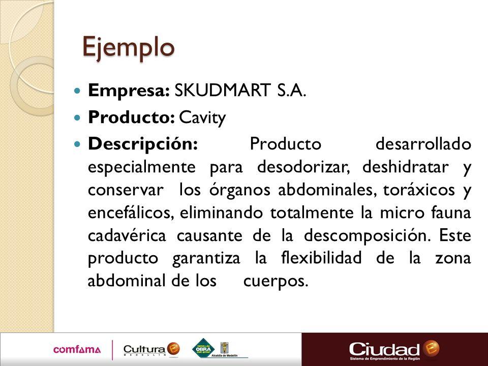 Ejemplo Empresa: SKUDMART S.A. Producto: Cavity Descripción: Producto desarrollado especialmente para desodorizar, deshidratar y conservar los órganos