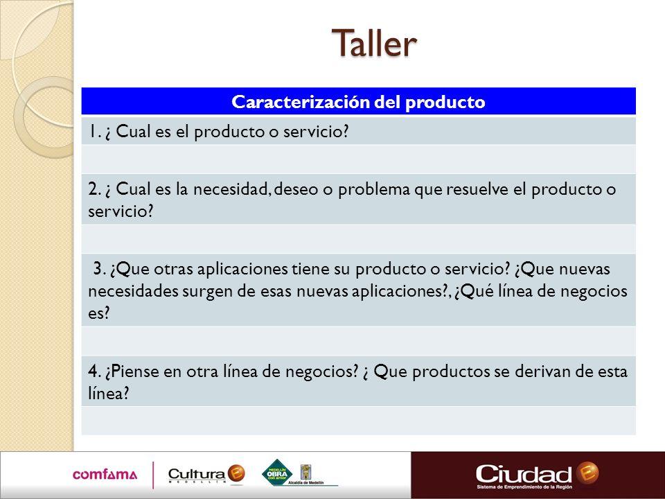 Taller Caracterización del producto 1. ¿ Cual es el producto o servicio? 2. ¿ Cual es la necesidad, deseo o problema que resuelve el producto o servic