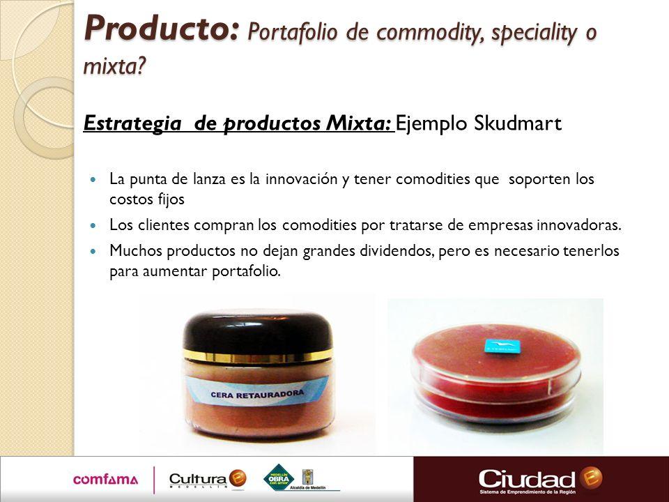 Producto: Portafolio de commodity, speciality o mixta? Estrategia de productos Mixta: Ejemplo Skudmart La punta de lanza es la innovación y tener como