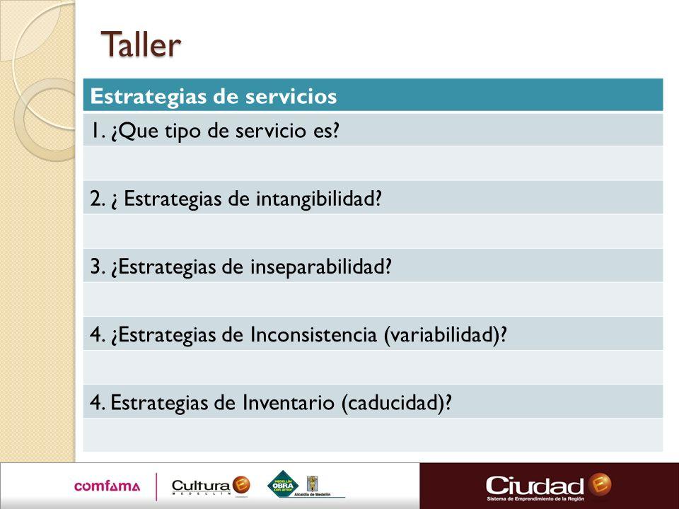 Taller Estrategias de servicios 1. ¿Que tipo de servicio es? 2. ¿ Estrategias de intangibilidad? 3. ¿Estrategias de inseparabilidad? 4. ¿Estrategias d