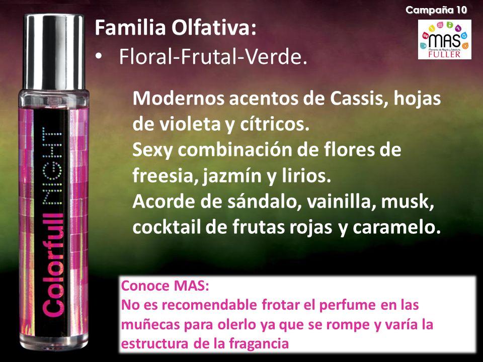 Familia Olfativa: Floral-Frutal-Verde. Modernos acentos de Cassis, hojas de violeta y cítricos. Sexy combinación de flores de freesia, jazmín y lirios