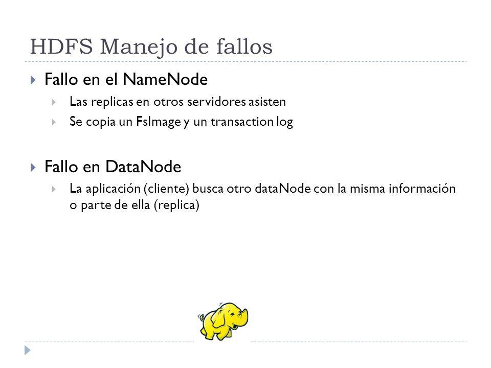 HDFS Manejo de fallos Fallo en el NameNode Las replicas en otros servidores asisten Se copia un FsImage y un transaction log Fallo en DataNode La apli