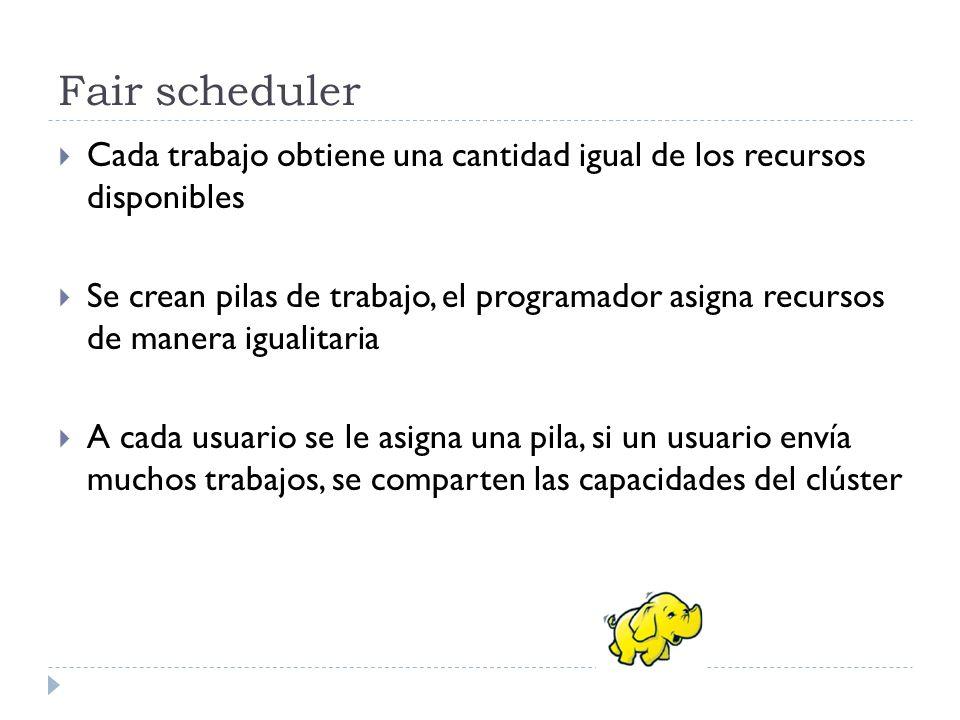 Fair scheduler Cada trabajo obtiene una cantidad igual de los recursos disponibles Se crean pilas de trabajo, el programador asigna recursos de manera