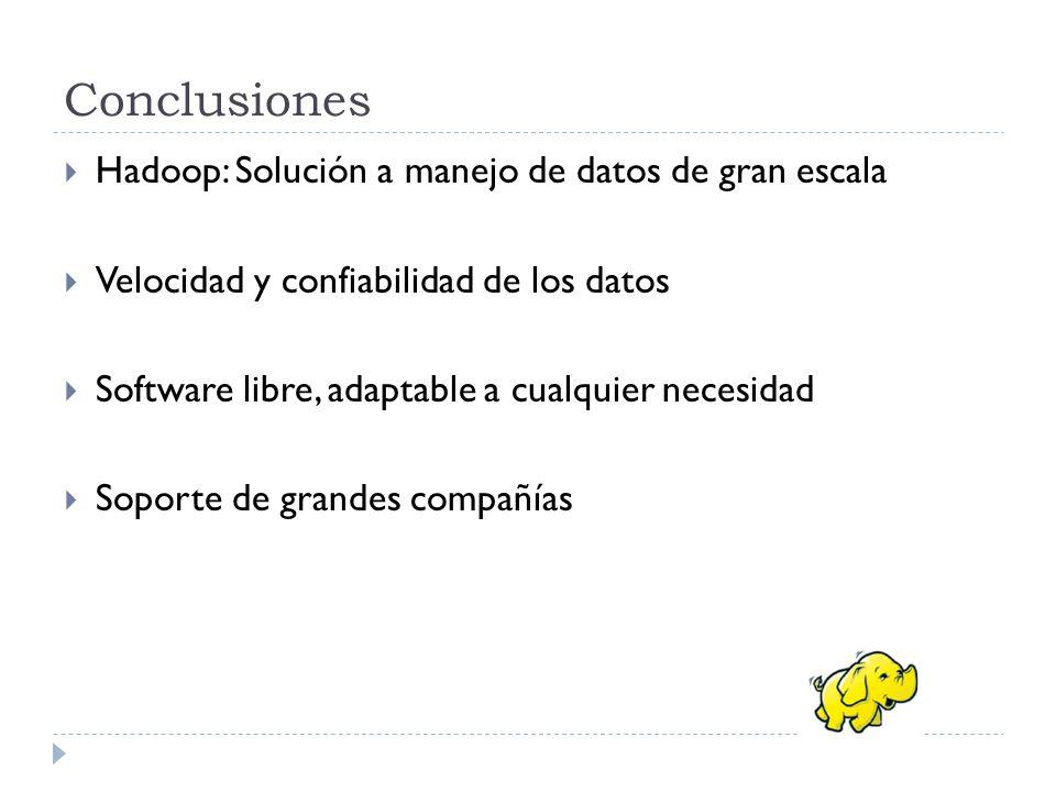 Conclusiones Hadoop: Solución a manejo de datos de gran escala Velocidad y confiabilidad de los datos Software libre, adaptable a cualquier necesidad