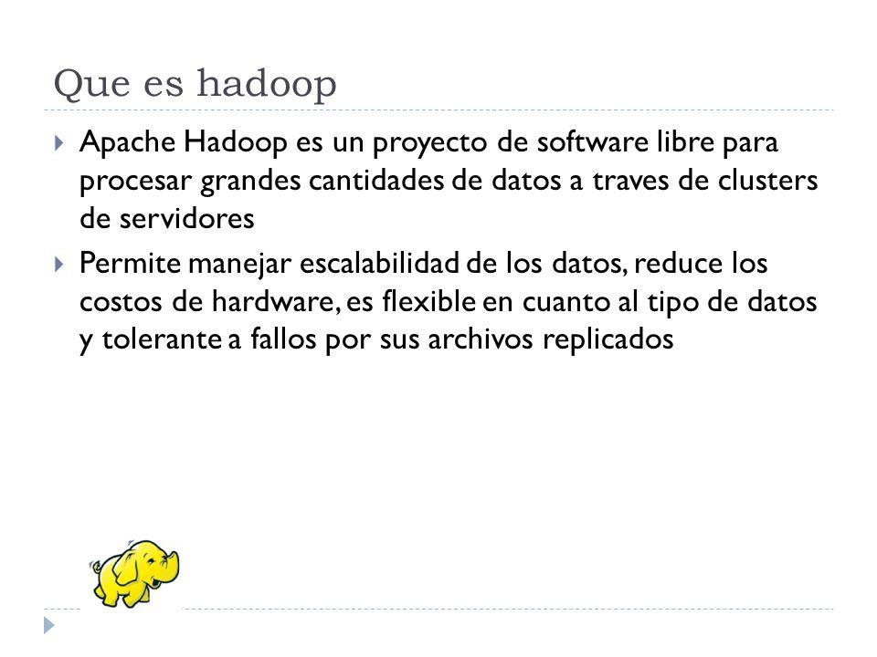 Que es hadoop Apache Hadoop es un proyecto de software libre para procesar grandes cantidades de datos a traves de clusters de servidores Permite mane