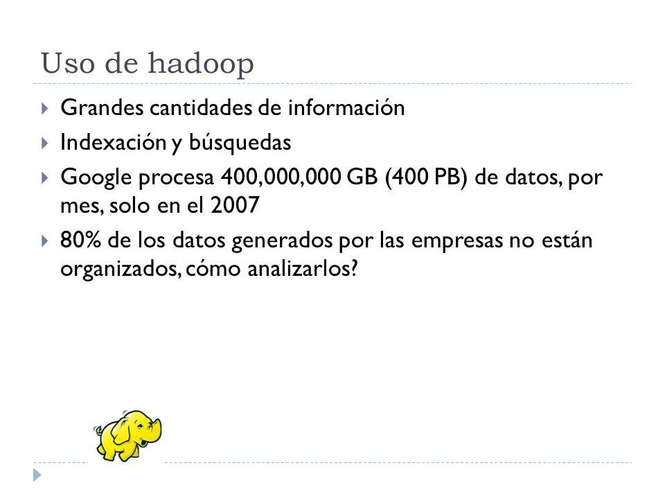 Uso de hadoop Grandes cantidades de información Indexación y búsquedas Google procesa 400,000,000 GB (400 PB) de datos, por mes, solo en el 2007 80% d