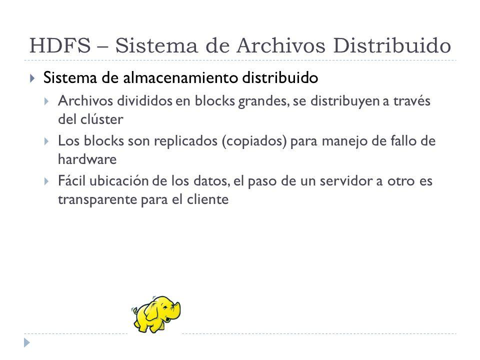 HDFS – Sistema de Archivos Distribuido Sistema de almacenamiento distribuido Archivos divididos en blocks grandes, se distribuyen a través del clúster
