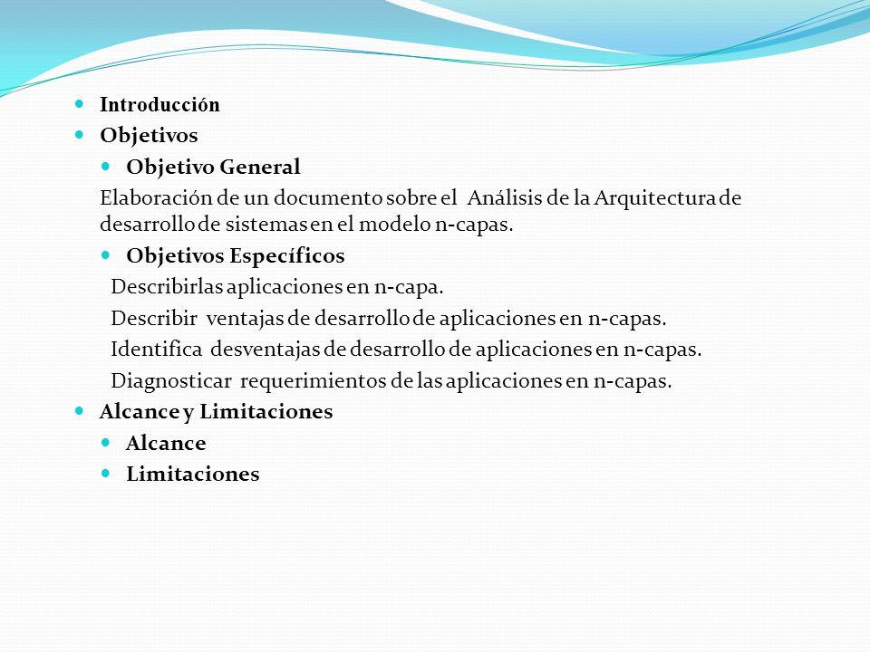 Introducción Objetivos Objetivo General Elaboración de un documento sobre el Análisis de la Arquitectura de desarrollo de sistemas en el modelo n-capas.