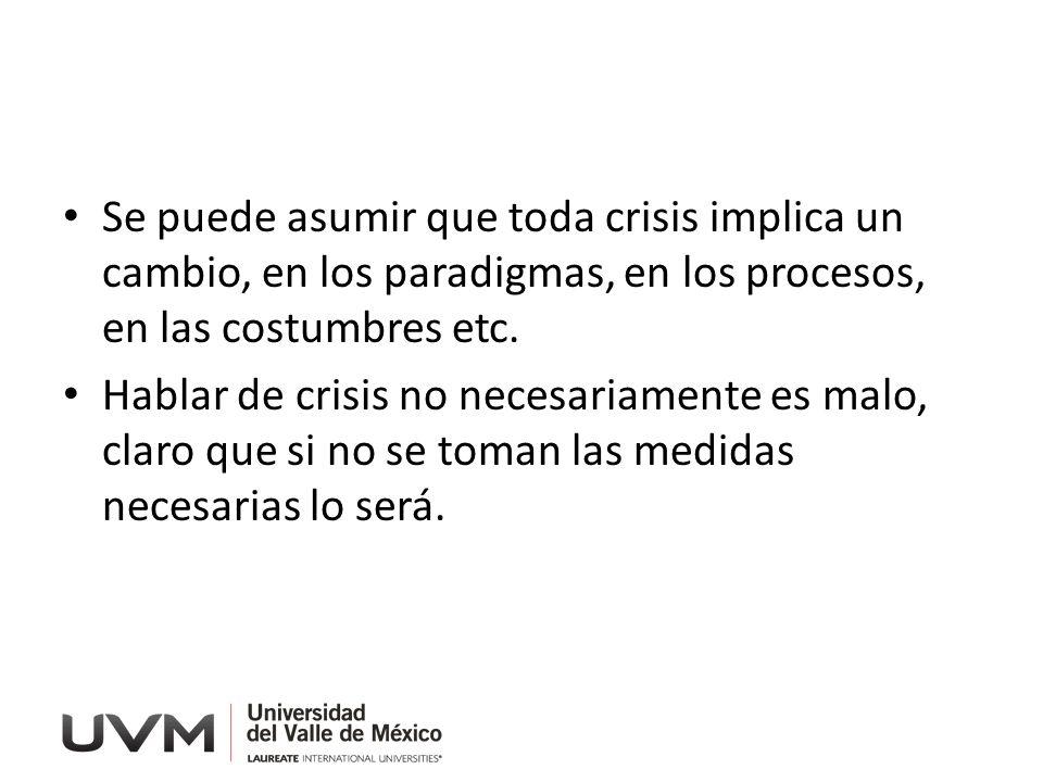 Se puede asumir que toda crisis implica un cambio, en los paradigmas, en los procesos, en las costumbres etc. Hablar de crisis no necesariamente es ma