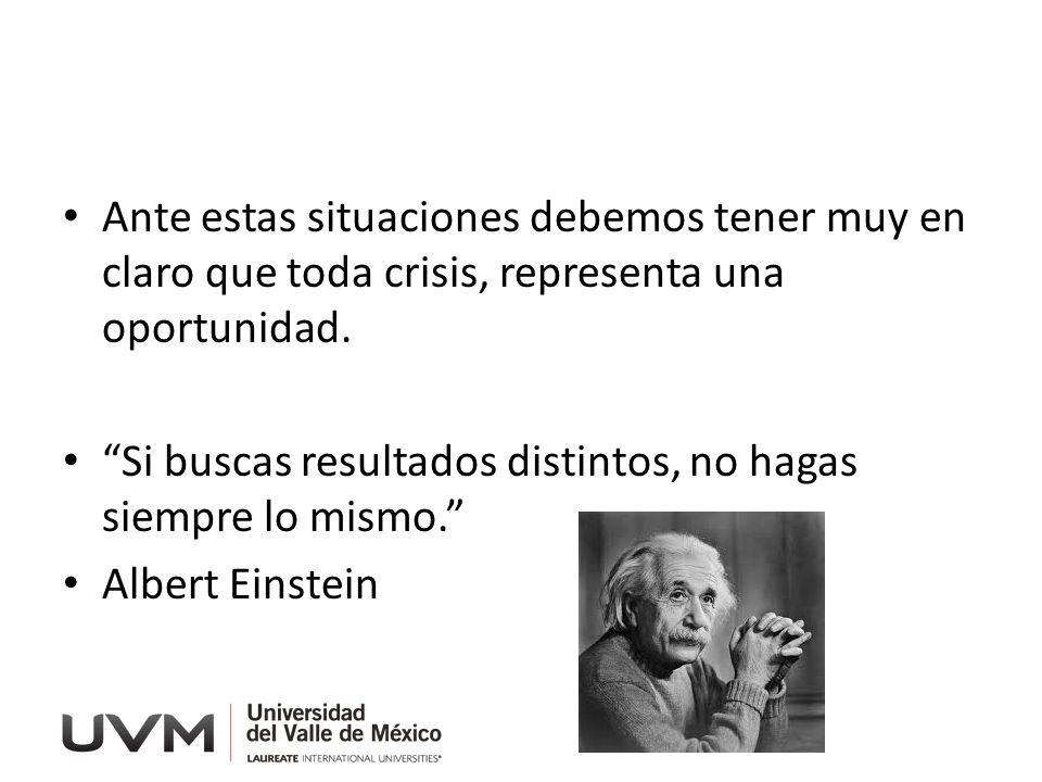 Ante estas situaciones debemos tener muy en claro que toda crisis, representa una oportunidad. Si buscas resultados distintos, no hagas siempre lo mis