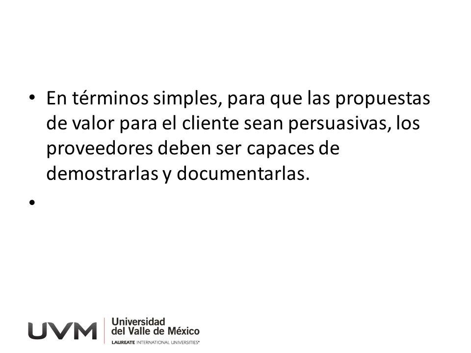 En términos simples, para que las propuestas de valor para el cliente sean persuasivas, los proveedores deben ser capaces de demostrarlas y documentarlas.