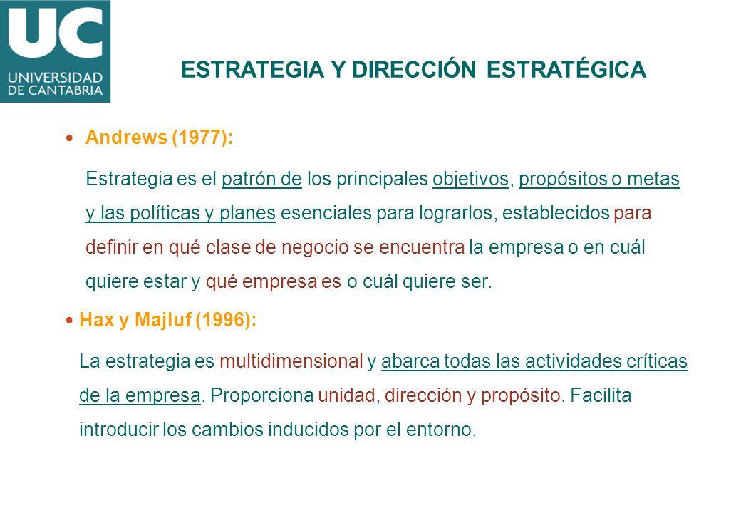 Andrews (1977): Estrategia es el patrón de los principales objetivos, propósitos o metas y las políticas y planes esenciales para lograrlos, estableci