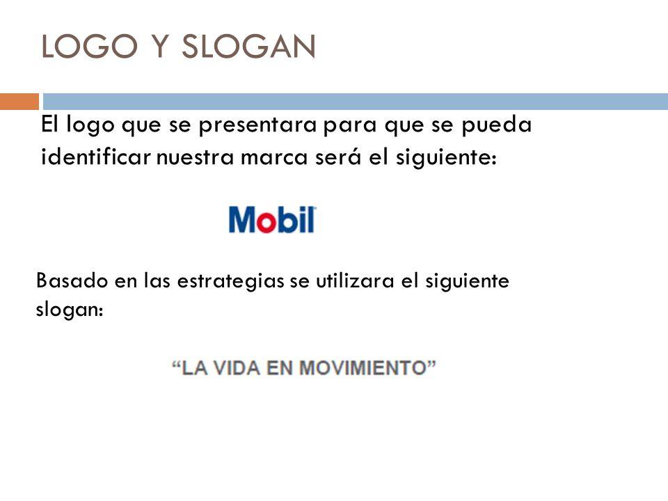 LOGO Y SLOGAN El logo que se presentara para que se pueda identificar nuestra marca será el siguiente: Basado en las estrategias se utilizara el siguiente slogan: