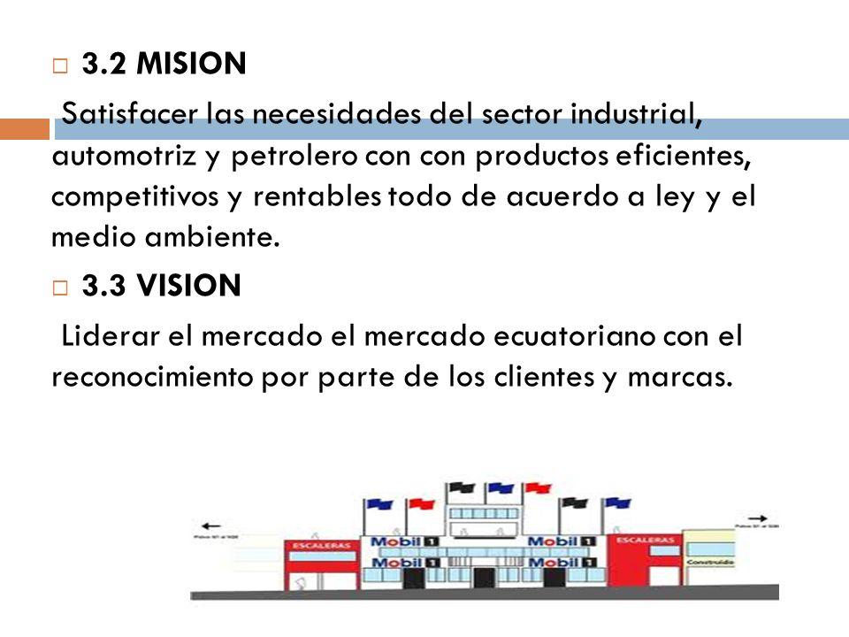 3.2MISION Satisfacer las necesidades del sector industrial, automotriz y petrolero con con productos eficientes, competitivos y rentables todo de acuerdo a ley y el medio ambiente.