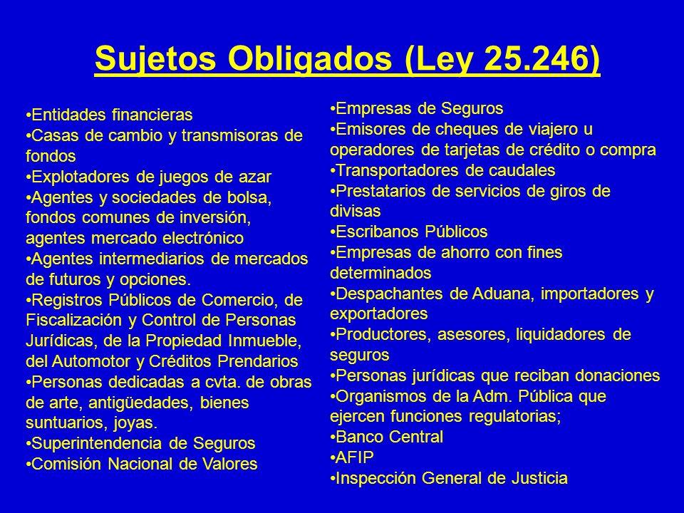 Sujetos Obligados (Ley 25.246) Entidades financieras Casas de cambio y transmisoras de fondos Explotadores de juegos de azar Agentes y sociedades de b