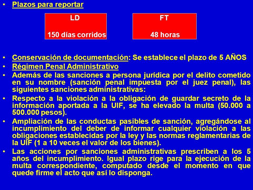 Plazos para reportar Conservación de documentación: Se establece el plazo de 5 AÑOS Régimen Penal Administrativo Además de las sanciones a persona jur