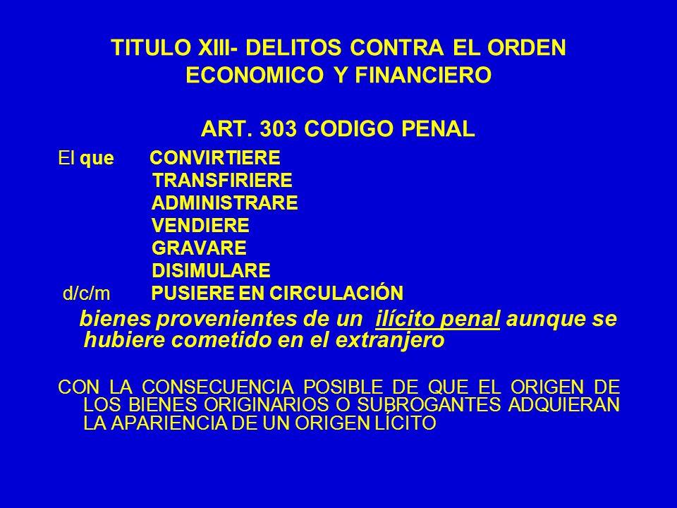 TITULO XIII- DELITOS CONTRA EL ORDEN ECONOMICO Y FINANCIERO ART. 303 CODIGO PENAL El que CONVIRTIERE TRANSFIRIERE ADMINISTRARE VENDIERE GRAVARE DISIMU