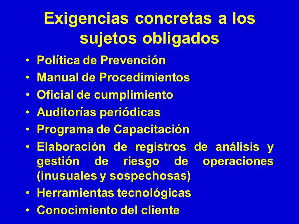 Exigencias concretas a los sujetos obligados Política de Prevención Manual de Procedimientos Oficial de cumplimiento Auditorías periódicas Programa de