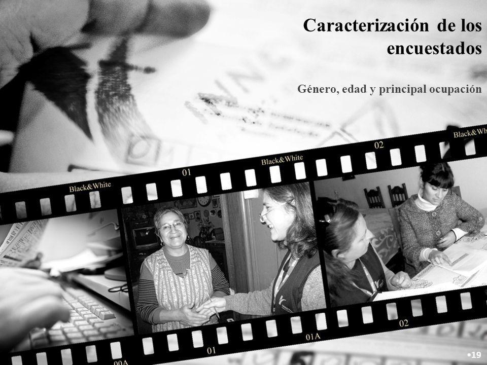 Caracterización de los encuestados Género, edad y principal ocupación 19