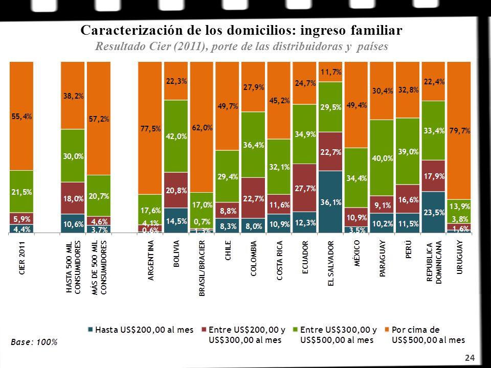 24 Caracterización de los domicilios: ingreso familiar Resultado Cier (2011), porte de las distribuidoras y países